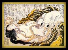 le rêve de la femme du pécheur- Hokusai-