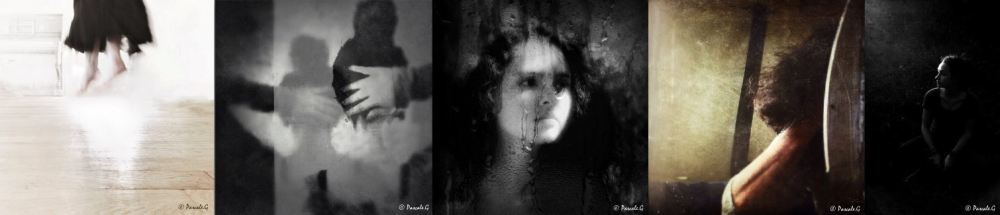 Pascale G. Lévitation. Sans titre.  Anxiety. Broken mirror. In the dark.